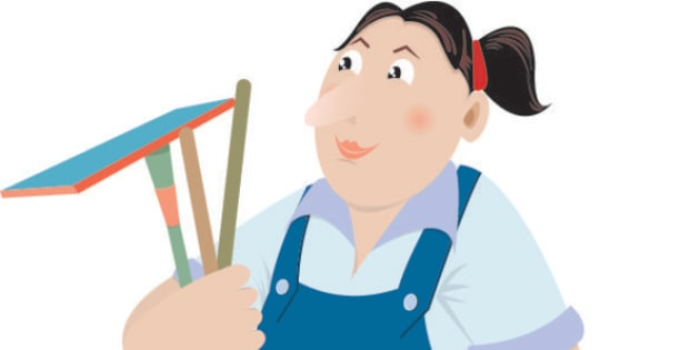 An illustration of an icon of a female worker in cleaning service or an image of domestic helper