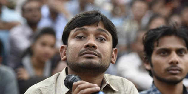 NEW DELHI, INDIA - MARCH 4: JNUSU President Kanhaiya Kumar during a press conference at JNU campus on March 4, 2016 in New Delhi, India. Kanhaiya Kumar was granted interim bail for six months by the Delhi High Court after spending 20 days in jail. Kumar was arrested on February 12 on charges of sedition and criminal conspiracy after alleged anti-national slogans were raised on the JNU campus on February 9. (Photo by Sanjeev Verma/Hindustan Times via Getty Images)