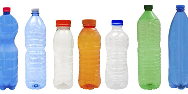 Multicolored   Plastic bottles isolated on white background