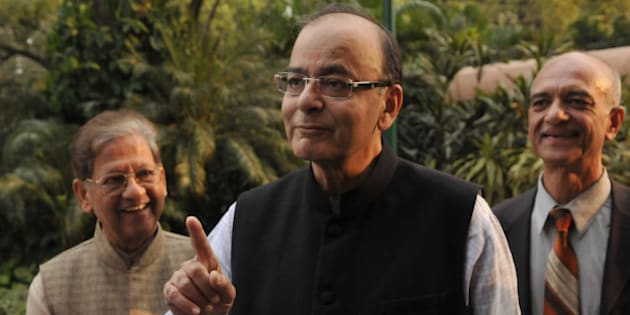 NEW DELHI, INDIA - NOVEMBER 26: Finance Minister Arun Jaitley during the winter session of Parliament on November 26, 2015 in New Delhi, India. Opposition parties raised in Lok Sabha the issue of 'intolerance', saying the untoward incidents witnessed in the recent past should be condemned as they send out negative messages and asked Prime Minister Narendra Modi to address the matter. (Photo by Vipin Kumar/Hindustan Times via Getty Images)