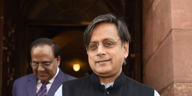 NEW DELHI, INDIA - FEBRUARY 23: Shashi Tharoor, Member of Parliament from Thiruvananthapuram, during the Parliament Budget Session 2016, at Parliament House on February 23, 2016 in New Delhi, India. (Photo by Sonu Mehta/Hindustan Times via Getty Images)