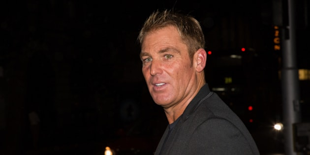 Shane Warne leaves the Class of 2005 Ashes Reunion in London, Tuesday, July 14, 2015. (Photo by Vianney Le Caer/Invision/AP)