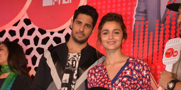 MUMBAI, INDIA  FEBRUARY 23: Siddharth Malhotra and Alia Bhatt at the launch of the latest season of MTV Coke studio.(Photo by Milind Shelte/India Today Group/Getty Images)