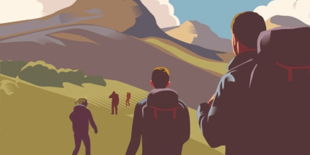 Landscape with hills, mountains and walkers in retro crosshatch style EPS 10 file, CS5 version in zip.