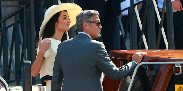 VENICE, ITALY - SEPTEMBER 29:  George Clooney and Amal Alamuddin sighting during their civil wedding at Canal Grande on September 29, 2014 in Venice, Italy.  (Photo by Robino Salvatore/GC Images)