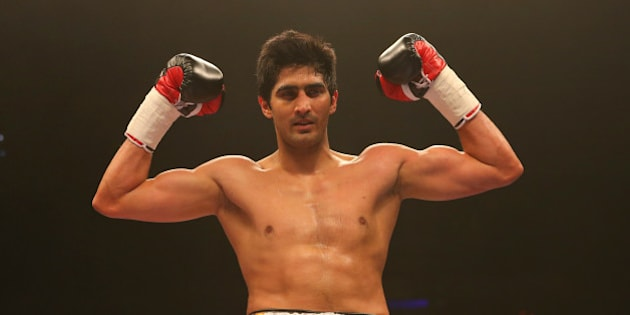 LIVERPOOL, ENGLAND - MARCH 12: Vijender Singh celebrates beating Alexander Horvath during their Middleweight contest at the Echo Arena on March 12, 2016 in Liverpool, England. (Photo by Dave Thompson/Getty Images)