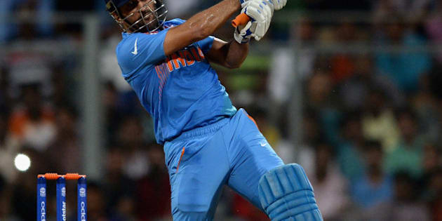 MUMBAI, INDIA - MARCH 12:  Mahendra Singh Dhoni of India bats during the ICC Twenty20 World Cup warm up match between India and South Africa at Wankhede Stadium on March 12, 2016 in Mumbai, India.  (Photo by Gareth Copley/Getty Images,)