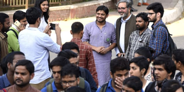 NEW DELHI, INDIA - MARCH 9: Jawaharlal Nehru University Students' Union President Kanhaiya Kumar  at JNU campus, on March 9, 2016 in New Delhi, India. JNU students' Union President Kanhaiya Kumar and two other students Umar Khalid and Anirban Bhattacharya were arrested on sedition charges for allegedly chanting anti-national slogans and favour of independence for Kashmir during an event at JNU's campus last month. (Photo by Sanjeev Verma/Hindustan Times via Getty Images)