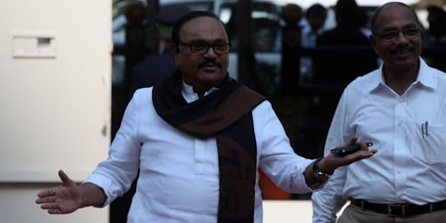 MUMBAI, INDIA - NOVEMBER 12: NCP leader Chhagan Bhujbal at Vidhan Bhavan on November 12, 2014 in Mumbai, India. Minority government of BJP led by Chief Minister Devendra Fadnavis won the vote of confidence of the Maharashtra state assembly by a voice vote, while its former ally Shiv Sena opted for the role of opposition. (Photo by Kunal Patil/Hindustan Times via Getty Images)