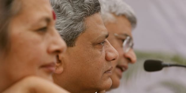 Communist Party of India (Marxist), or CPI(M) leaders, from left to right, Brinda Karat, Sitaram Yechury, and Prakash Karat are seen at the release of the party manifesto ahead of general elections in New Delhi, India, Monday, March 16, 2009. Elections in India will be held in five phases beginning in April as the current government's five-year term ends. (AP Photo/Saurabh Das)