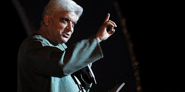 Indian poet, lyricist and scriptwriter, Javed Akhtar performs at the Indian legendary Hindi and Marathi film music director and composer, the late N. Dutta Naiks musical gurney show in Mumbai on June 4, 2015.  AFP PHOTO        (Photo credit should read STR/AFP/Getty Images)