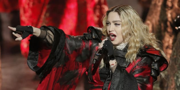 U.S. singer Madonna performs during the Rebel Heart World Tour in Macau, China, Saturday, Feb. 20, 2016. (AP Photo/Kin Cheung)