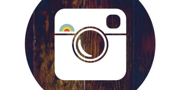 Hipster Photo Icon on Wooden Texture with Cross Process Effect
