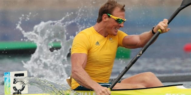 Australia's Ken Wallace competes in the 2008 Beijing Olympic Games men's Kayak K1 1000m flatwater semi-final event at the Shunyi Rowing and Canoeing Park in Beijing on August 20, 2008.     AFP PHOTO/ Manan VATSYAYANA  (Photo credit should read MANAN VATSYAYANA/AFP/Getty Images)