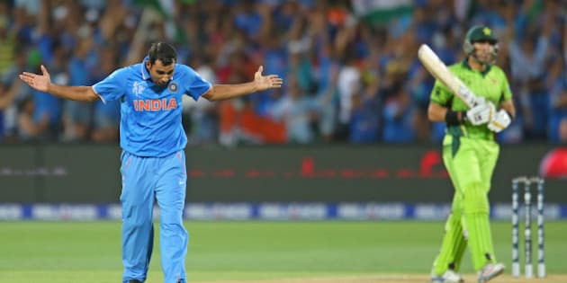 ADELAIDE, AUSTRALIA - FEBRUARY 15:  Mohammed Shami of India celebrates after dismissing Misbah-ul-Haq of Pakistan during the 2015 ICC Cricket World Cup match between India and Pakistan at Adelaide Oval on February 15, 2015 in Adelaide, Australia.  (Photo by Scott Barbour/Getty Images)
