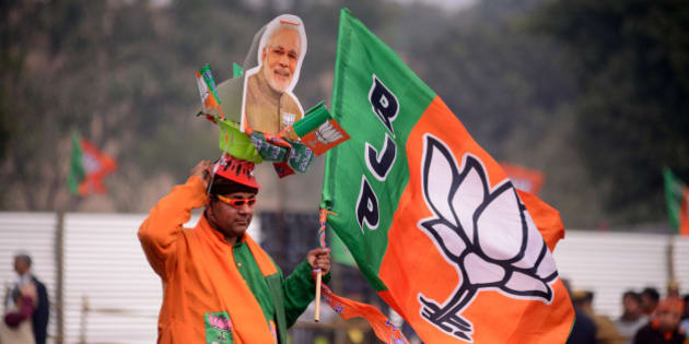 NEW DELHI, INDIA - FEBRUARY 03:  PM Narendra Modi's Election Rally in Rohini for Delhi Assembly Elections on February 03, 2015 in New Delhi, India. (Photo by Pradeep Gaur/Mint via Getty Images)
