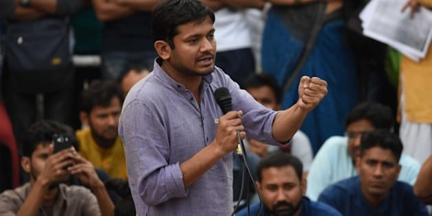 NEW DELHI, INDIA - MARCH 7: Jawaharlal Nehru University Students Union President Kanhaiya Kumar speaks at the JNU Campus, on March 7, 2016 in New Delhi, India. JNUSU President Kanhaiya Kumar was granted interim bail for six months by the Delhi High Court after spending 20 days in jail. Kumar was arrested on February 12 on charges of sedition and criminal conspiracy after alleged anti-national slogans were raised on the JNU campus on February 9. (Photo by Vipin Kumar/Hindustan Times via Getty Images)