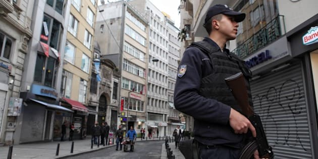 ISTANBUL, TURKEY - MARCH 19:  Police secure the area following a suicide bombing in a major shopping and tourist district in the central part of the city on March 19, 2016 in Istanbul, Turkey. The explosion on Istanbul's main pedestrian shopping Istiklal street today killed at least four people and left many injured.  (Photo by Gokhan Tan/Getty Images)