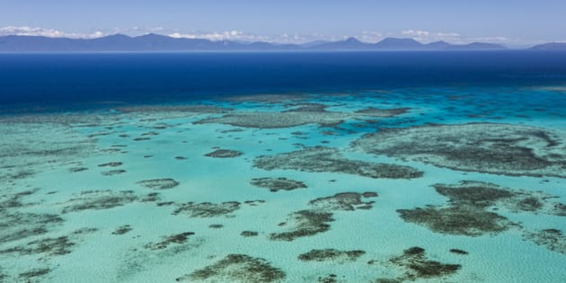 An inshore reef seen from the air, Queensland, Great Barrier Reef.