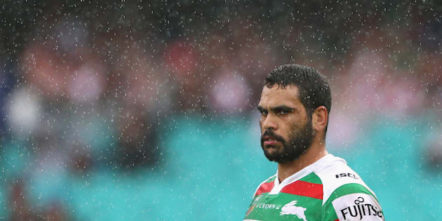 SYDNEY, AUSTRALIA - MARCH 20: Greg Inglis of the Rabbitohs looks on during the round three NRL match between the St George Dragons and the South Sydney Rabbitohs at Sydney Cricket Ground on March 20, 2016 in Sydney, Australia.  (Photo by Cameron Spencer/Getty Images)