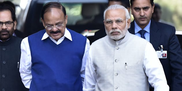 NEW DELHI, INDIA - FEBRUARY 23: Prime Minister Narendra Modi with Parliamentary Affairs Minister M. Venkaiah Naidu and his cabinet colleagues arrives to address the media during the first day of the Budget Session at Parliament on February 23, 2016 in New Delhi, India. (Photo by Arvind Yadav/Hindustan Times via Getty Images)