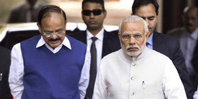 NEW DELHI, INDIA - FEBRUARY 23: Prime Minister Narendra Modi with Parliamentary Affairs Minister M. Venkaiah Naidu arrives at the start of the Budget Session of Parliament on February 23, 2016 in New Delhi, India.(Photo by Sonu Mehta/Hindustan Times via Getty Images)