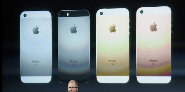 Greg Joswiak, vice president of iPod, iPhone, and iOS product marketing for Apple Inc., announces the iPhone SE smartphone during an Apple event in Cupertino, California, U.S., on Monday, March 21, 2016. Apple Inc. Chief Executive Officer Tim Cook is expected to unveil a smaller iPhone Monday in attempt to woo those who are holding on to older versions. Photographer: David Paul Morris/Bloomberg via Getty Images