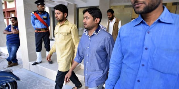 NEW DELHI, INDIA - MARCH 20: JNU Students Union President Kanhaiya Kumar leaves after attending a Public Symposium, on March 20, 2016 in New Delhi, India. The arrest of Kanhaiya Kumar had generated a huge controversy, with the opposition parties accusing the government of suppressing freedom of speech. (Photo by Virendra Singh Gosain/Hindustan Times via Getty Images)