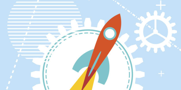 Blue technology background with a rocket at the start. Design your start-ups, workshops, training programs and projects.  Vector illustration.