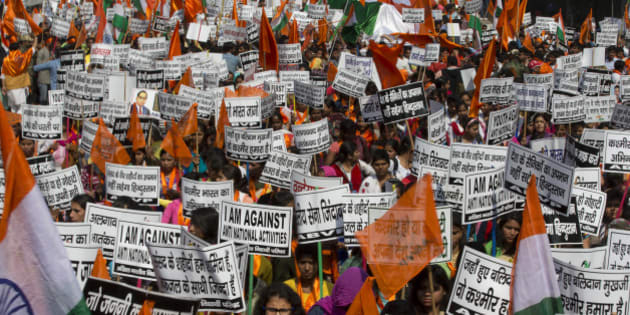 "Students of the Akhil Bharatiya Vidyarthi Parishad (ABVP) or All Indian Student Council, a student wing of the ruling Bharatiya Janata party, shout pro India slogans during a march in New Delhi, India, Wednesday, Feb. 24, 2016. The students demanded strict action against those indulging in anti-national activities, especially in the light of what happened in a New Delhi university where anti-India slogans calling for the destruction of India and independence for the Indian portion of Kashmir were allegedly shouted two weeks ago. Some banners in the local language read: ""India will not tolerate the insult of its soldiers, we are shameful that friends of Afzal Guru are still alive,"" and ""Kashmir is part of India."" (AP Photo/Manish Swarup)"