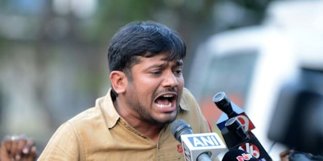 Student leader of India's Jawaharlal Nehru University (JNU)Kanhaiya Kumar speaks to the media at Hyderabad Central University in Hyderabad on March 23, 2016.