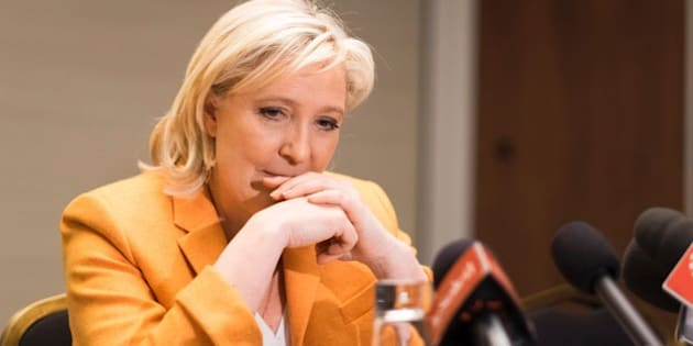 French far right Front National (FN) president Marine Le Pen speaks at a press conferencein Quebec City on March 20, 2016.  Le pen criticised Canada's immigration policy, in paricular the opening of doors to Syrian refugees.    / AFP / Florence Cassisi        (Photo credit should read FLORENCE CASSISI/AFP/Getty Images)
