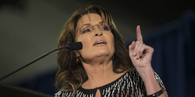 AMES, IA - JANUARY 19:   Former Alaska Gov. Sarah Palin speaks at Hansen Agriculture Student Learning Center at Iowa State University on January 19, 2016 in Ames, IA. Palin endorsed Donald Trump's run for the Republican presidential nomination.  (Photo by Aaron P. Bernstein/Getty Images)