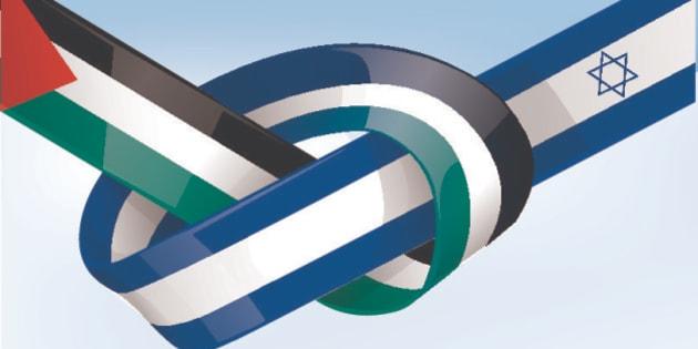 palestine and israel ribbon flag