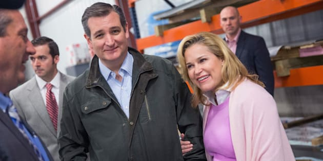 DANE, WI - MARCH 24:  With his wife Heidi by his side, Republican presidential candidate Sen. Ted Cruz (R-TX) tours the Dane Manufacturing facility before speaking to workers on March 24, 2016 in Dane, Wisconsin. Wisconsin voters go to the polls for the state's primary on April 5.  (Photo by Scott Olson/Getty Images)