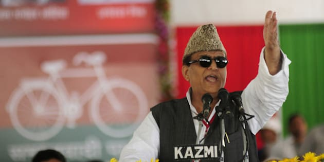 LUCKNOW, INDIA - OCTOBER 9: Uttar Pradesh Minister Azam Khan addressing party workers during 2nd day of Samajwadi party 9th convention on October 9, 2014 in Lucknow, India. (Photo by Deepak Gupta/Hindustan Times via Getty Images)