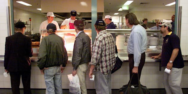 Homeless Men Line Up For Food At The St Vincent De Paul Society Soup Kitchen