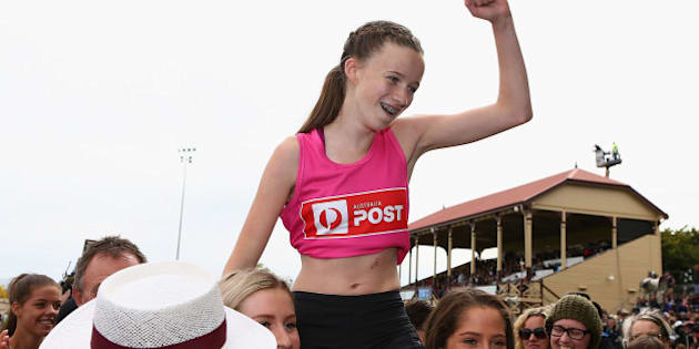 STAWELL, AUSTRALIA - MARCH 28:  Talia Martin (pink) wins Women's 120m Women's Gift during the 2016 Stawell Gift on March 28, 2016 in Stawell, Australia.  (Photo by Robert Prezioso/Getty Images)