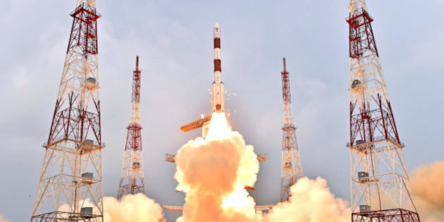 SRIHARIKOTA, Jan. 21, 2016-- PSLV-C31 rocket of Indian Space Research Organisation carrying IRNSS-1E satellite lifts off from the Satish Dhawan Space Center in Sriharikota, Andhra Pradesh, India, Jan. 20, 2016. India Wednesday successfully launched its fifth navigation satellite from the spaceport of Sriharikota in the southern state of Andhra Pradesh. (Xinhua/ISRO via Getty Images)