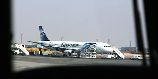 A picture taken in Cairo on August 19 2008 shows an Egypt Air plane supporting a new logo parked on the tarmac at the Cairo International Airport.. AFP PHOTO/KHALED DESOUKI (Photo credit should read KHALED DESOUKI/AFP/Getty Images)