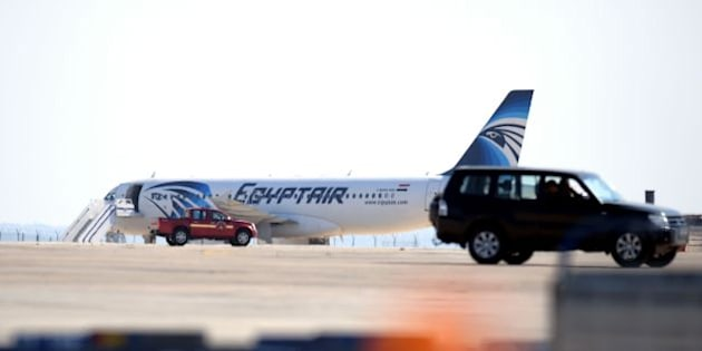 An EgyptAir Airbus A-320 sits on the tarmac of Larnaca airport after it was hijacked and diverted to Cyprus on March 29, 2016. 