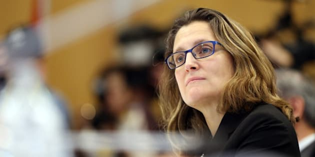 Chrystia Freeland the Minsiter of International Trade from Canada looks on as Ministerial Representatives from the 12 countries for the signing of the Trans-Pacific Partnership(TPP) agreement in Auckland on February 4, 2016.