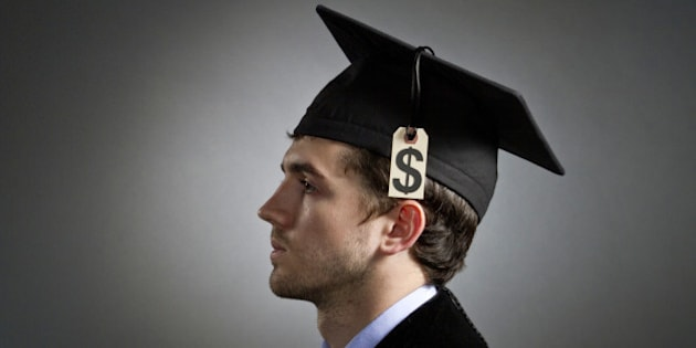 College graduate wearing tuition price tag on mortarboard, horizontal