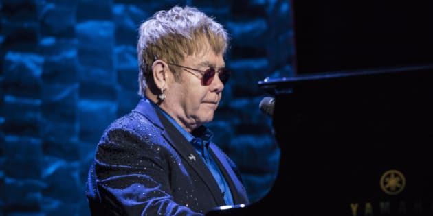 NEW YORK, NY - MARCH 2:  Elton John performs during a fundraiser for Democratic presidential candidate Hillary Clinton at Radio City Music Hall on March 2, 2016 in New York City. Clinton won seven states in yesterday's Super Tuesday. (Photo by Andrew Renneisen/Getty Images)