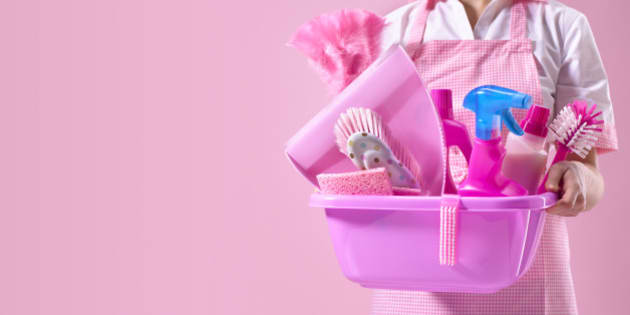 Spring cleaner with pink cleaning equipment