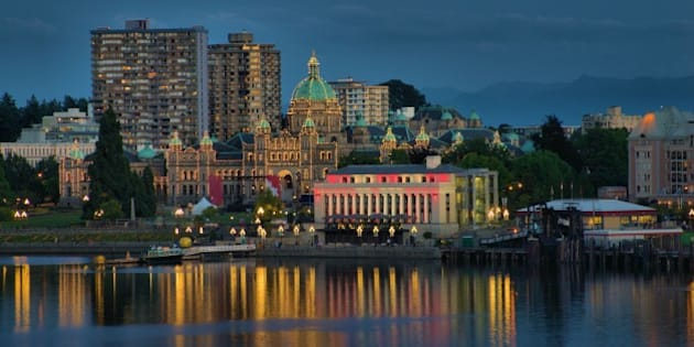 Night scene of Victoria BC Canada with Parliament building in background