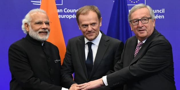 European council President Donald Tusk (3rdL), EU Commission President Jean-Claude Juncker (2ndL) and Indian Prime Minister Narendra Modi (3rdR) attend a one-day EU-India summit, with talks on improving counter-terrorism cooperation high on the agenda.  / AFP / JOHN THYS        (Photo credit should read JOHN THYS/AFP/Getty Images)