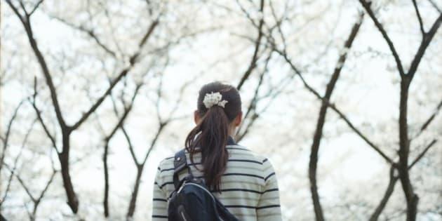Young girl walking under sakura blossom, Osaka, Japan.