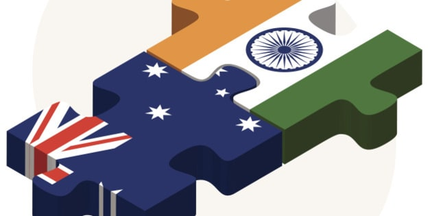 Vector Image - Australia and India Flags in puzzle isolated on white background