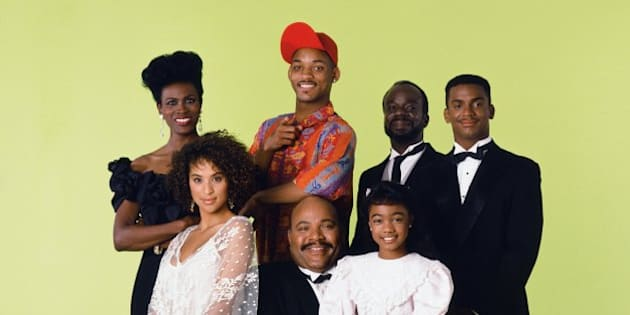 THE FRESH PRINCE OF BEL-AIR -- Season 1 -- Pictured: (front, l-r) Karyn Parsons as Hilary Banks, Banks, James Avery as Philip Banks, Tatyana Ali as Ashley Banks (l-r, back) Janet Hubert as Vivian Banks, Will Smith as William 'Will' Smith, Joseph Marcell as Geoffrey, Alfonso Ribeiro as Carlton Banks -- Photo by: Chris Cuffaio/NBCU Photo Bank